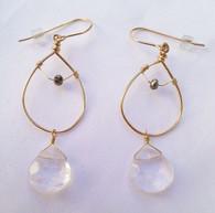 Gold Hoop Clear Quartz Drop Earrings