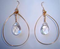 Clear quartz gold hoop earring