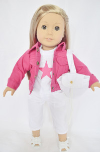 PINK DENIM JACKET WITH WHITE CAPRIS FOR AMERICAN GIRL DOLLS