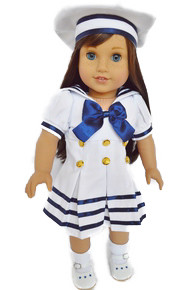 My Brittany's Sailor Dress for American Girl Dolls- 18 Inch Doll Clothes