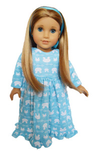My Brittany's Blue Bunny Nightgown with Hair Ribbon for American Girl Dolls