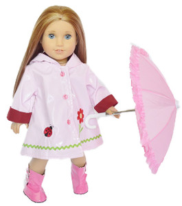 My Brittany's Pink Flower Raincoat With Umbrella and Boots