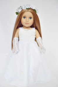 Wedding/Communion Gown with Wreath and Gloves for American Girl Dolls