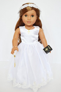 7 Pc. Victorian Lace Communion Gown for 18 Inch American Girl Dolls