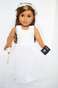 My Brittany's Carnation Top with 3 Tier Ruffles Communion Dress with all White Floral Veil for American Girl Dolls