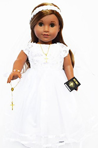 2013- Communion Dress/Wedding Dress- Modern for American Girl Dolls-Comes Complete With Bible,Cross Necklace, Shoes