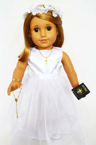 My Brittany's Side Rosette Communion Gown for American Girl Dolls