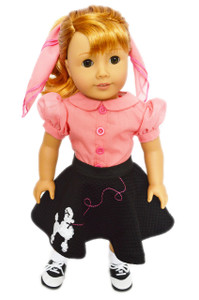 Poodle Skirt Set with Shoes and Socks for American Girl Dolls