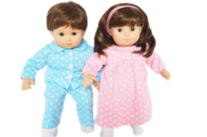 Matching Nightgown and Pj Set For Bitty Twins