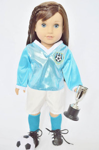 My Brittany's Teal and White Soccer Outfit for American Girl Dolls -My Life as Dolls- Our Generation Dolls- 18 Inch Doll Clothes