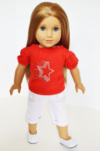 Red Star Top with White Denim Capris