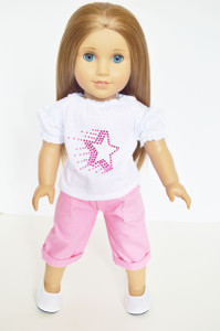White Star Top with Pink Denim Capris