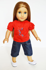 Red Star Top with Blue Jean Capris