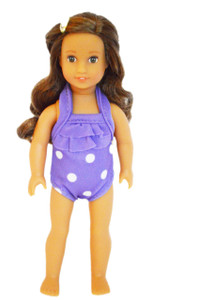Purple Polka Dot Swimsuit for American Girl Doll Minis