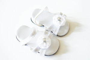 White Triple Carnation Summer Sandals