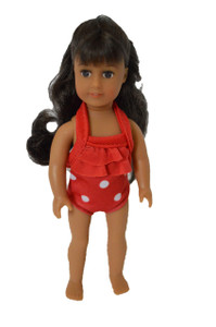 Red Polka Dot Swimsuit for American Girl Dolls 6 Inch Mini Dolls