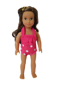 Pink Polka Dot Swimsuit for American Girl Doll 6 Inch Mini Dolls