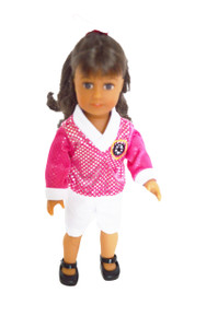 Pink and White Soccer Outfit For American Girl Doll Mini 6 Dolls