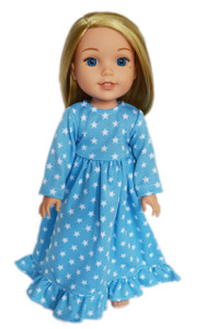 Blue Star Nightgown For American Girl Dolls Wellie Wishers