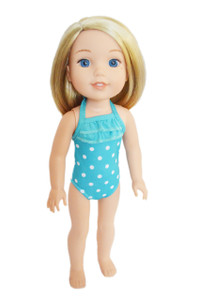 Cyan Blue Dot Swimsuit for American Girl Dolls Wellie Wishers