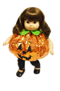 Sequin Pumpkin Outfit For Bitty Twins