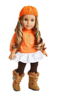 Pumpkin Harvest Outfit With Boots For American Girl Dolls