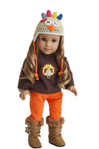 Thanksgiving Day Harvest Outfit  With Boots For American Girl Dolls
