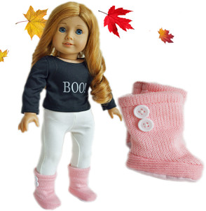 Pink Button Boots for American Girl Dolls and Bitty Twins