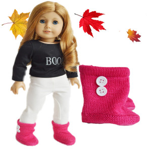 Raspberry Button Boots For American Girl Dolls