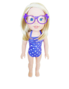 My Brittany's Wellie Wishers Size Purple Bow Glasses- add on item only