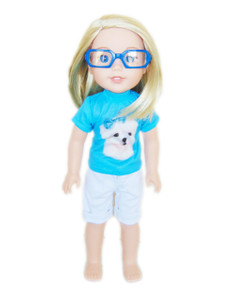 My Brittany's Modern Blue Reading Glasses for Wellie Wishers- Add on item only