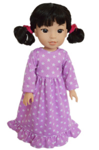 My Brittany's Lavender Stars Nightgown for Wellie Wisher Dolls