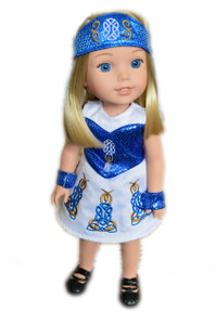 My Brittany's Blue Irish Gown for Wellie Wisher Dolls