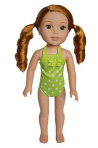 Lime Green Polka Dot Swimsuit for Wellie Wiser Dolls