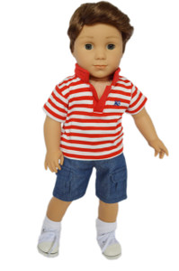 My Brittany's Red Polo Shorts Set for American Girl Boy Dolls