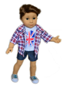3 Pc Union Jack Set for American Girl Boy Dolls