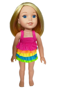 My Brittany's Pink Rainbow Frill Swimsuit for Wellie Wisher Dolls
