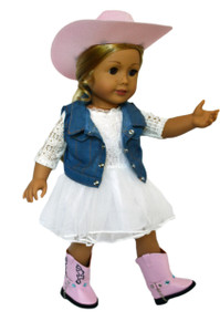 My Brittany's Ivory Lace Dress - Denim Jacket for American Girl Dolls