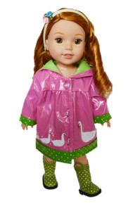 My Brittany's Pink Swan Raincoat for Wellie Wisher Dolls