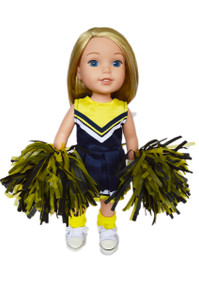 My Brittany's Blue and Yellow Cheerleader Outfit for Wellie Wisher Dolls