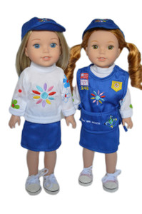 My Brittany's Girl Scout Daisy Outfit for Wellie Wisher Dolls- Skirt Version