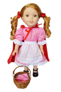 My Brittany's Red Gingham Little Red Riding Hood Outfit for Wellie Wisher Dolls