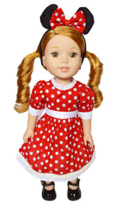 My Brittany's Red Polka Dot Mouse Dress for Wellie Wisher Dolls