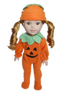 My Brittany's Pumpkin Halloween Costume for Wellie Wisher Dolls