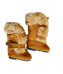 My Brittany's Brown Modern Fur Boots for Wellie Wisher Dolls