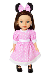 My Brittany's Pink Mouse Dress for Wellie Wisher Dolls- 14 Inch Doll Clothes