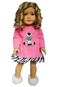 My Brittany's Zebra Nightgown for American Girl Dolls- 18 Inch Doll Clothes