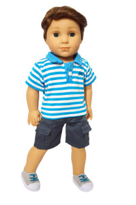 My Brittany's Cyan Blue Polo Shirt and Shorts for American Girl Boy Dolls
