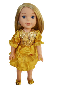 My Brittany's Holiday Gold Dress for Wellie Wisher Dolls
