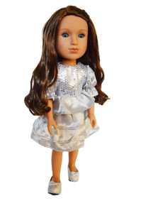 My Brittany's Silver Party Dress for Wellie Wisher Dolls